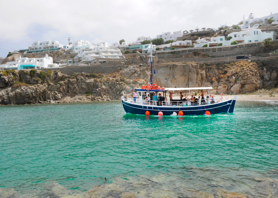 Traditional boat daily cruises Kalafatis Mykonos